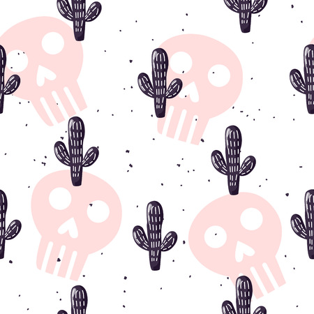 Seamless pattern with cactuses and skulls on white background. Ornament for textile and wrapping. Vector mexican banner.