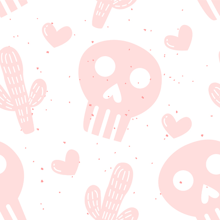 Seamless pattern with cactuses, hearts and skulls on white background. Ornament for textile and wrapping. Vector mexican banner. Banco de Imagens - 123427504