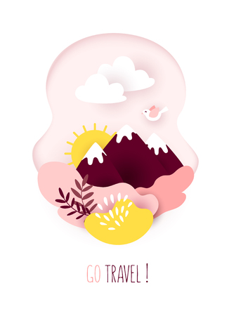 Travel card in paper art style with mountains, clouds, sun and plants on white background. Vector banner. Ilustração