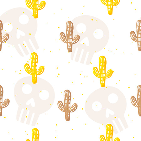 Seamless pattern with skulls and cartoon cactuses on white background. Ornament for textile and wrapping. Vector mexican banner.