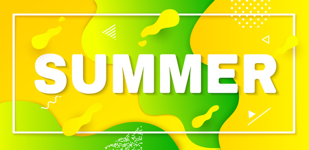 Vacation illustration with text, graphic elements and gradient shapes. Summer banner in trendy flat style. Vector card. Banco de Imagens - 123300244