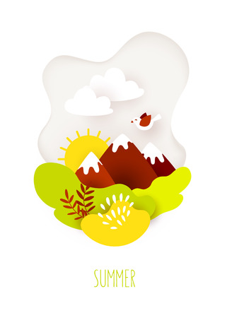 Summer card in paper art style with mountains, clouds, sun and plants on white background. Vector banner. Banco de Imagens - 123300245