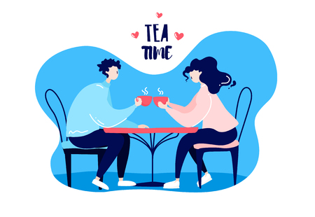 Cartoon girl and guy drink tea at the table in a cafe. Romantic card in trendy flat linear style. Vector. Ilustração