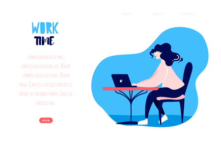 Cute girl working on a laptop in a cafe. Vector web page template. Freelance banner in flat linear style. Banco de Imagens - 122916178