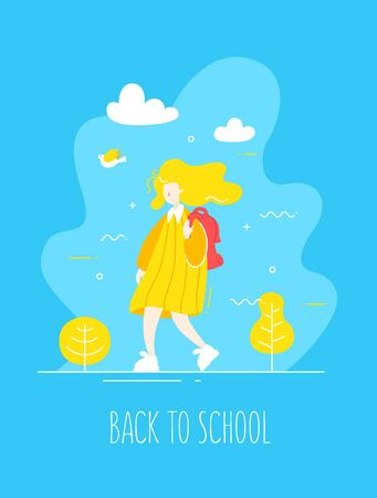 Cute girl in flat linear style with backpack walks in nature.  Back to school banner. Vector. Ilustração