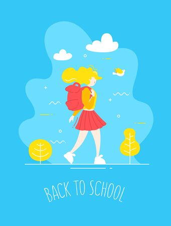 Cartoon girl in flat linear style with backpack walks in nature.  Back to school banner. Vector. Ilustração