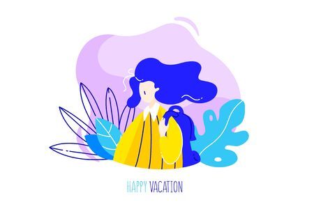 Cartoon girl with backpack, tropical plants and text on  white background. Happy vacation card in trendy flat linear style. Vector banner.