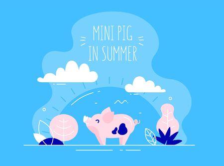 Cute mini pig in flat linear style walks in nature. Vector summer card. Ilustração