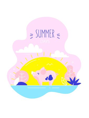 Cartoon mini pig walks in nature. Flat linear style. Vector summer card. Ilustração