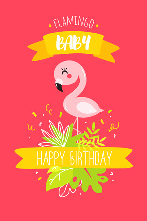 Cute baby flamingo with ribbon and tropical plants on red background. Happy Birthday card. Vector.