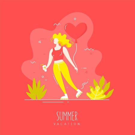 Cute girl with balloon and cocktail rollerblading on the tropical beach. Vector summer card in flat linear style.
