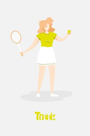 Cartoon girl in the sundress with racket and tennis ball on gray background. Cute card in trendy flat linear style. Vector summer sport banner. Ilustração