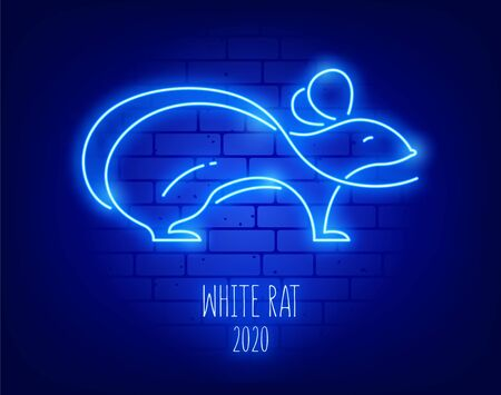 Glowing white rat on a brick wall. Vector card in neon style. Illustration