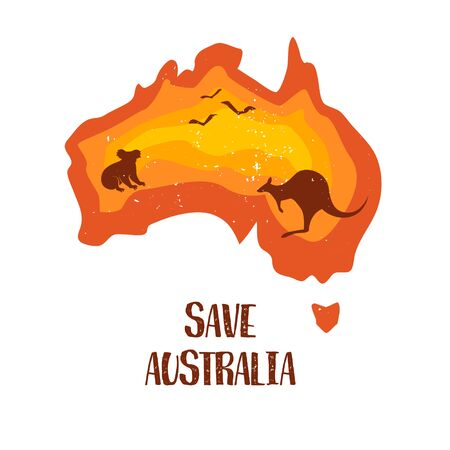 Save Australia concept banner. Color gradient continent with silhouette of koala, kangaroo and birds. Vector illustration.