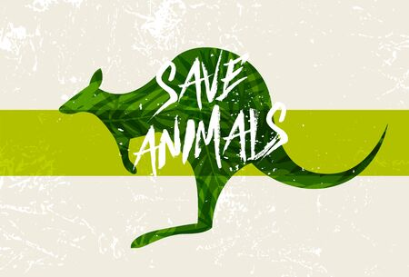 Save Australia concept. Green silhouette kangaroo with incentive slogan on grunge background. Vector illustration.