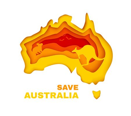 Save Australia concept banner. Color continent in paper cut style with silhouette of koala, kangaroo and birds. Vector illustration.