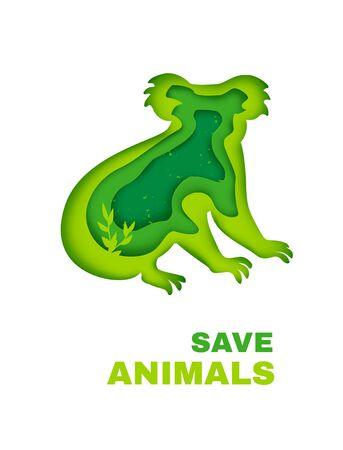 Save animals in Australia concept banner. Green silhouette of koala in paper cut style. Vector illustration. Ilustração