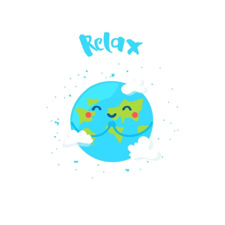 Ð¡ute Earth prays. Cartoon planet with clouds on white background. Flat style. Vector card.