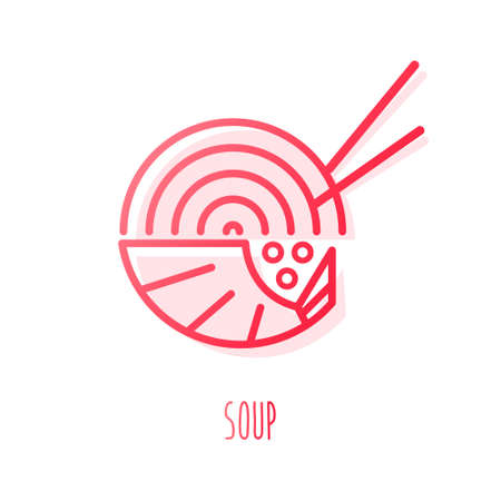 Soup with shrimp and noodle in color line style. Vector gradient icon.