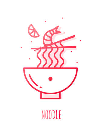 Spicy soup with shrimp and noodle in gradient line style. Vector icon. Ilustrace