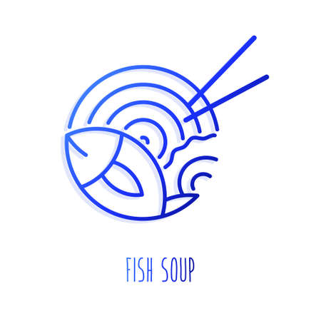 Asian noodles with mussel and fish in gradient linear style. Vector icon.