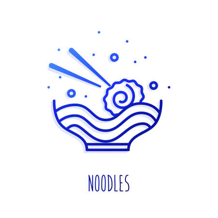 Asian soup with mussel and noodle in gradient linear style. Vector icon.
