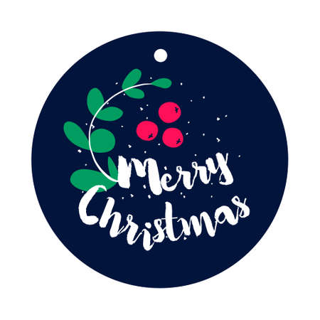A sprig of mistletoe and berries with text on dark background. Flat style. Vector christmas sticker.