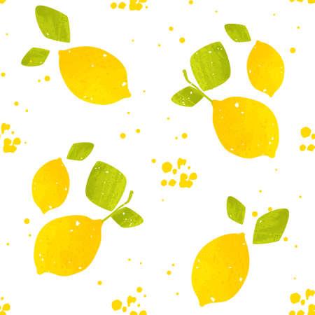 Seamless pattern with lemon fruit and splash. Flat design. Vector cartoon banner.