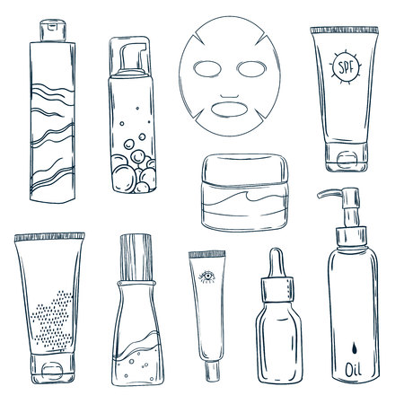Skin care routine icons set in line style. Vector illustration. Stock Illustration - 107588758