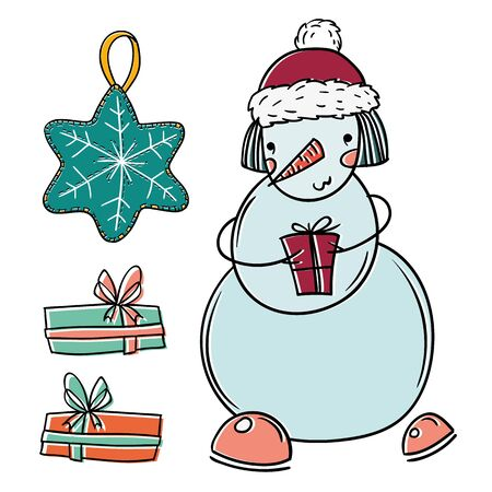 merry christmas isolated vector set with snowman, pendant and gifts