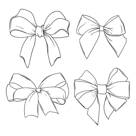 Set of four different beautiful bows. hand-drawn line illustration isolated on white background Illustration