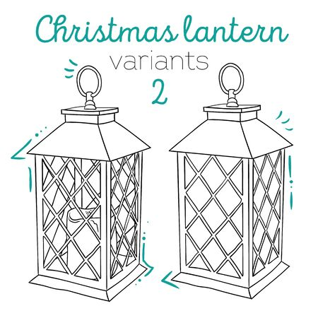 Set of vintage lanterns. Isolated line icons, modern design. Vector illustrations for Christmas
