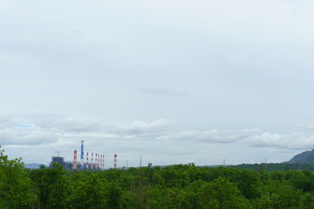 high tech: view of power plant in the jungle