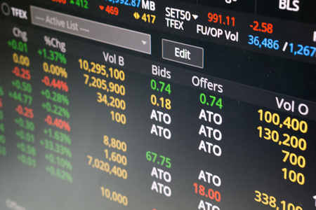 Selective focus on the stock exchange monitor background