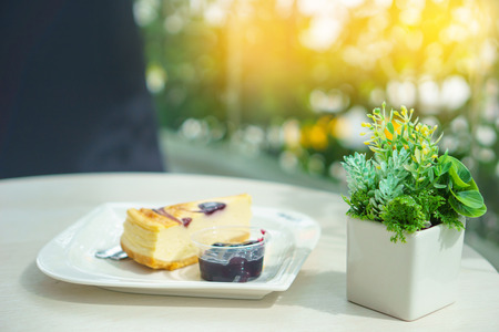 pieces of cake with blueberry jam near small tree on the table with blurred background.