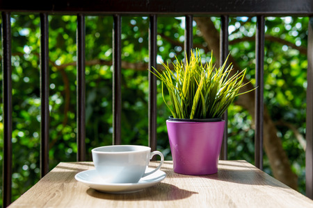 espresso coffee in white cup on the wooden table with small mock up plant at terrace or balcony of hotel with garden view. coffee, relax, holiday, feel good or thinker concept.