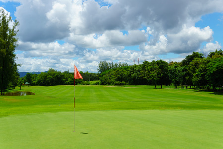beautiful idyllic view of green with red flag and view of forest, blue sky with clouds. Фото со стока - 87643487