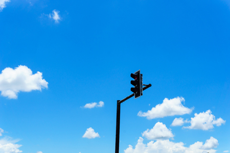 Beautiful and Amazing.Blue sky with clouds and Traffic lights for background