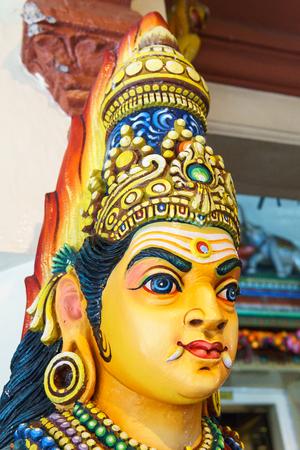 Close up. Head of Hindu goddess Statue.