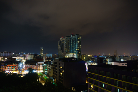 Chonburi,Thailand. September 29,2017. beautiful panorama landscape of pattaya cityscape at night with dark purple sky and cloud