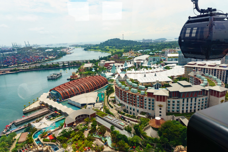 singapore cable car, modern transportation on the sentosa island to travel and sightseeing with aerial view 360 degree. singapore travel and cityscape.
