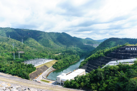 Panorama landscape view of river pass through mountain in the Srinakarin dam, Kanjanaburi, Thailand