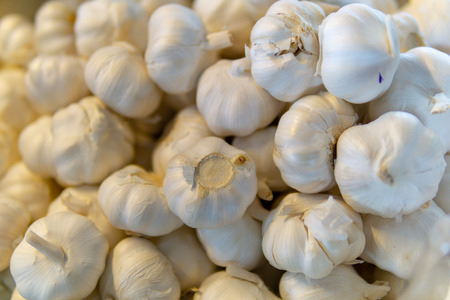 close up. pile of white garlic for background. Stock Photo
