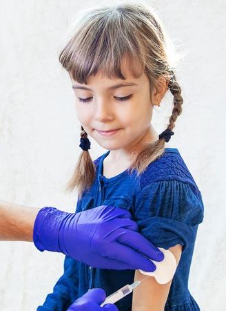vaccination of children. An injection. Selective focus kids Stok Fotoğraf
