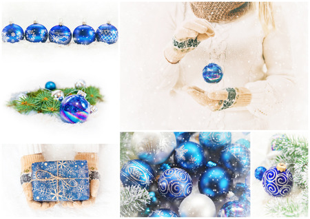 collage of Christmas pictures. Holidays and events. New year. Stock Photo