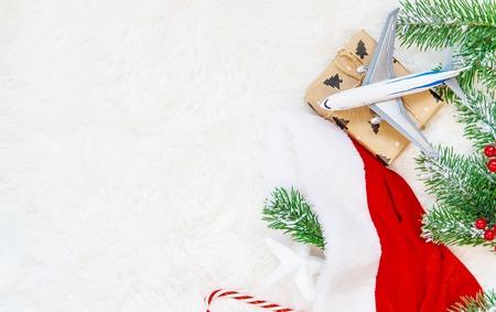 Fond de Noël sur le thème du voyage. Mise au point sélective. Vacance Banque d'images