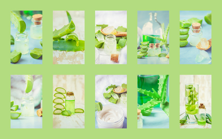 Collage Aloe Vera extract in a small bottle and pieces on the table. Banco de Imagens