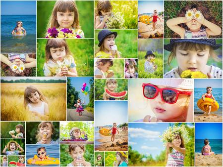 Childrens collage summer photos. Kids girl collage.