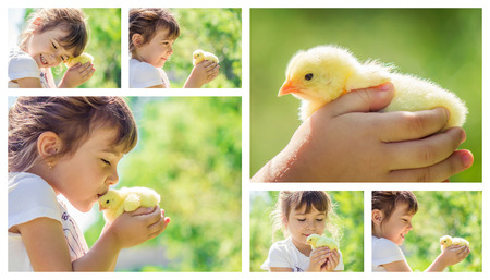 The child holds a chicken in his hands.