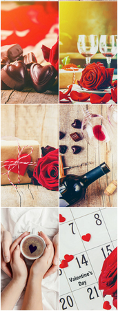 Collage aus Liebe und Romantik. Selektiver Fokus.